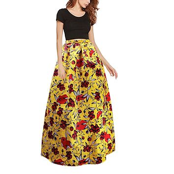 Women's African Print Stretch Elastic High Waist Skirt - Yellow Floral, Sizes Small - 2XLarge