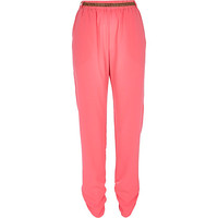River Island Womens Bright pink embellished belt joggers