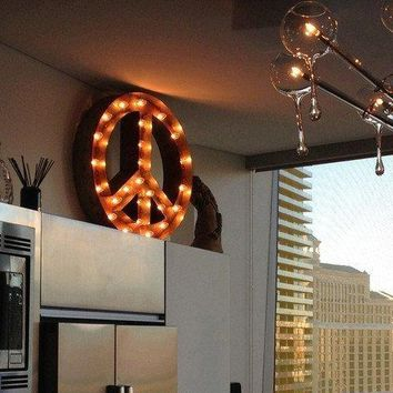 """24"""" Peace Sign Vintage Marquee Lights Sign (Rustic)"""