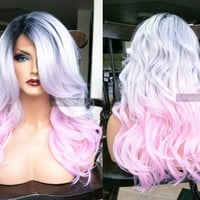 USA // Human Hair BLEND Pink Gray Swiss LACE Front & Part Silver White Ombre Wavy Grey Wig w/ Dark Root