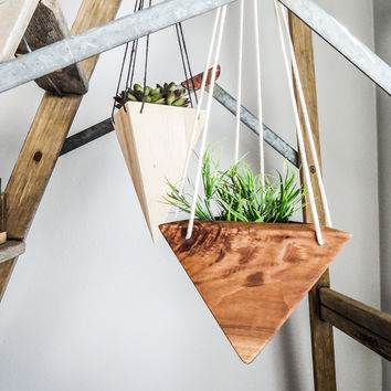 Geometric Hanging Planter - Walnut Short