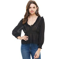 Lace Trim With Cinch Waist Long Sleeve Blouse