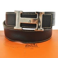 Auth HERMES Vintage H Logos Buckle Constance Reversible Belt Leather NR06743