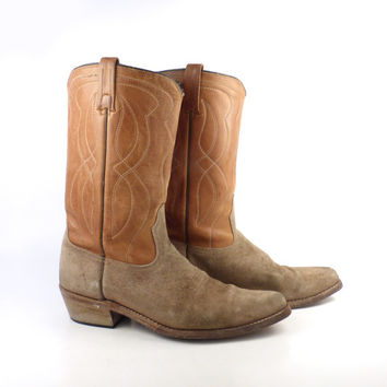 Brown Cowboy Boots Vintage 1970s Rough out Suede and Leather men's  size 11 D