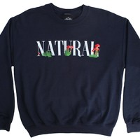 Altru Apparel Embroidered Natural Navy Fleece Crewneck Sweatshirt