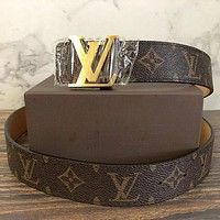 Inseva LV Louis Vuitton Tide brand men and women classic chessboard presbyopia fashion smooth buckle belt