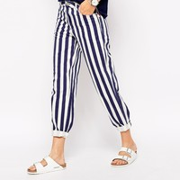 Bethnals Charlie Wide Leg Boyfriend Jeans With Roll Hem In Deck Chair Stripe Co-Ord