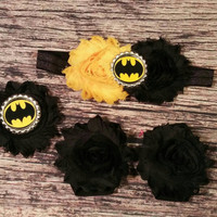 Batman Baby Girl Headband, Bracelet, and Barefoot Sandal Set! Yellow and Black. Newborn / Infant / Toddler / Girls / Bows / Hair Band / Sets