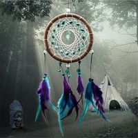 Enchanted Forest Turquoise Campanula Craft Dream Catcher Feathers Car Pendant Ornament For Home Wall Hanging Decoration