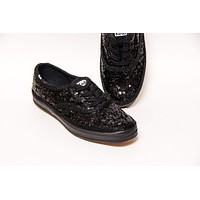 All Black Starlight Sequin Keds® Sneakers