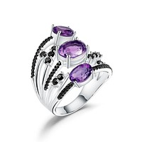 Oval Natural Amethyst 925 Sterling Silver Finger Triple Rings