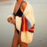 Stripes Colorblock Chunky Mohair Sweater Cardigan