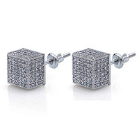 Pave Square Stud Earring Embellished with Swarovski Crystals in 18K White Gold Plated