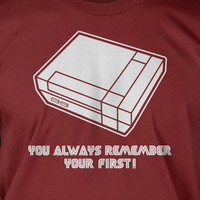 Classic Video Game t shirt You Always Remember Your First Screen Printed T-Shirt  mens womens ladies youth kids