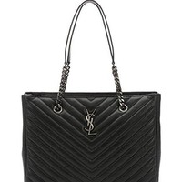 Saint Laurent black matelassé leather large monogram shopping tote