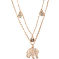 With Love From CA Elephant Coin Layered Necklace - Womens Jewelry - Gold - NOSZ