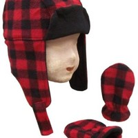 N'ice Caps Little Boys and Infants Buffalo Plaid Fleece Trooper Hat and Mitten Set