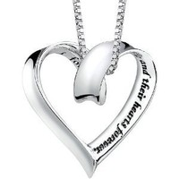 """Sterling Silver """"A Mother Holds Her Childs Hand"""" Heart Pendant Necklace, 18"""""""