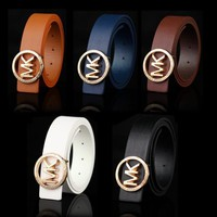 MK Woman Fashion Smooth Buckle Belt Leather Belt
