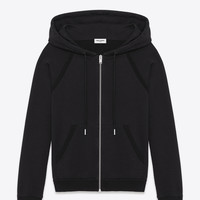 Saint Laurent Classic Hooded Zip Sweatshirt In Black Cotton And Grosgrain | ysl.com