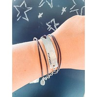Women's Hand Stamped Fearless Silver Plaque on Brown Triple Leather Cording Bracelet