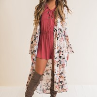 Lillian Floral Duster (Taupe)