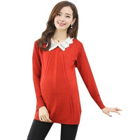 Women's Lapel Casual Easing Wild Pullove Pregnant Knit Sweaters = 1946174148