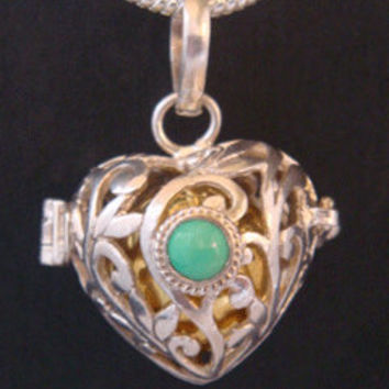 Harmony Ball, Heart Shape with a Gorgeous Turquoise Gemstone on the 925 Sterling