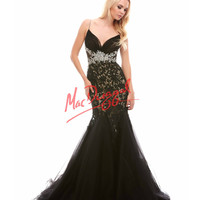 Lace Embellished Black Mermaid Gown