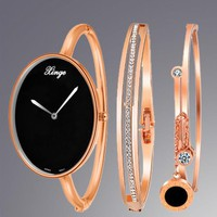 Luxury Women Watches Oval Gold Silver Bracelet