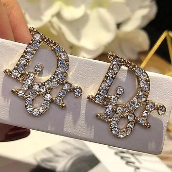 Dior fashion brand letter double C full of diamond small ear nail female earrings