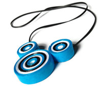 Blue, Black and White Necklace - Paper Craft Jewellery, Mickey Mouse Ears