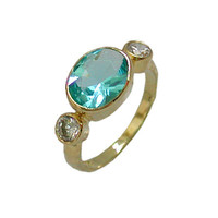 Aqua Marine Hydro - Gold Rings - 14k Yellow Gold plated Over Brass - Gemstone Oval Stone - Birthstone Rings - Bezel Rings -Bridesmaid Gift
