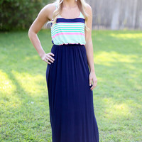 Pink, Green and Navy Maxi