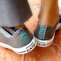 Custom Bride and/or Groom's Wedding Converse,  One or Two Pair, Name, Date,  Classic colors, Custom Wedding Shoes, Converse