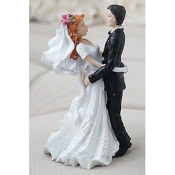 Vintage Bride and Groom Cake Topper Red Hair Flower in Hair