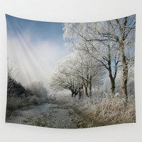 Wall Tapestry, Tree Tapestry, Wall Hanging, Winter Frozen Forest Woods Nature, Large Photo Wall Art, Modern Tapestry, Home Decor