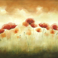 Huge Original Watercolor Painting, Song of Red Poppies, Flowering Plants, Poppy Art, Big Painting, 16 x 20 inches, Warm Tones