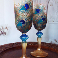 Set of 2 hand painted wedding champagne flutes Peacock lace theme wedding glasses