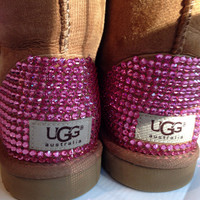Custom Swarovski Encrusted Classic Short Ugg Boots - Only Authentic Uggs and Swarovski Crystals Used - Each Swarovski Crystal is Handplaced