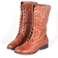 Low-Heel Short Tie Lace Up Riding Boots