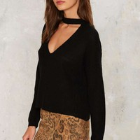 Nasty Gal Down the Rabbit Hole Plunging Sweater