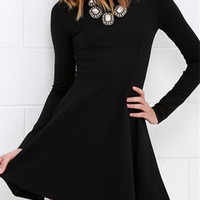 Black Long Sleeve Basic Mini Skater Dress