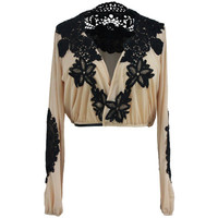 Fashion Women Lace Sexy Floral Printed Long Sleeve Criss Cross Back V Neck Erotic Top _ 11789