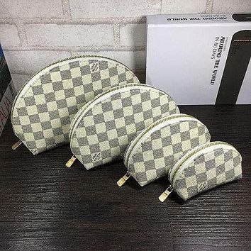 LV Louis Vuitton Women's Full-printed Letter Four-piece Cosmetic Bag Accessories Travel Storage