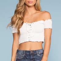 Catch The Sun Off The Shoulder Crop Top