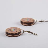 Handmade round plywood earrings with cross-stitch embroidery Pink Hearts