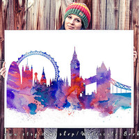 London City Skyline, Art Print, London poster, UK print, Home decor, Tower bridge