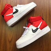 Nike Air Force 1 AF1 Fashionable Women Men Casual High Help Basketball Sports Shoes Sneakers White&Red