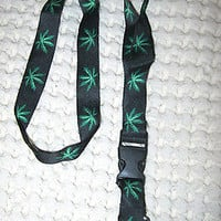 "Lanyard/Landyard Black w/ Green MJ Marijuana Weed Leaves Design 15"" lanyard-New!"